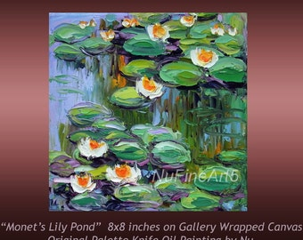 "Small Oil Painting Lily Pond Monet's Water Lily Garden Giverny Impasto Palette Knife Original Art Canvas 8x8""  Ready to Hang"