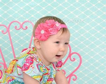 Baby Headband, Infant Headband, Newborn Headband, Bright Pink Baby Headband, Pink Headband, Pink Baby Headband