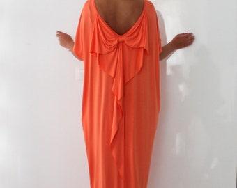 Backless Maxi dress, Peach color caftan dress , Open Back dress, Abaya Dress