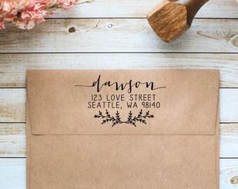 Custom Return Address Stamp, Calligraphy Address Stamp, Return Address Rubber Stamp, Wedding Address Stamp, Business Address Stamp