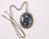 SAMPLE SALE Pendant Necklace / Statement Jewelry / Long Silver Chain / Purple / Accessory / Bridesmaid Gifts / Made in USA