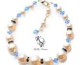 Blue Bracelet, Bridal Bracelet, Something Blue, Pearl Bracelet, Swarovski Pearls, Sapphire Bracelet, Prom Jewelry, Something Blue Bracelet