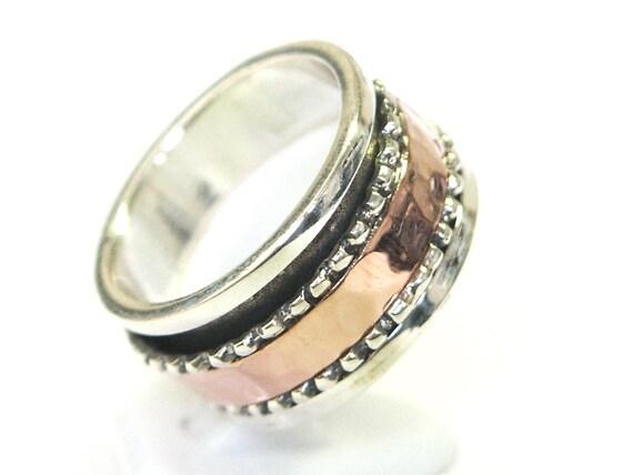 Unisex 9ct 9k rose gold 925 sterling silver wedding ring spinning spinner vintage, wedding gold ring, wedding silver ring, wedding gold band
