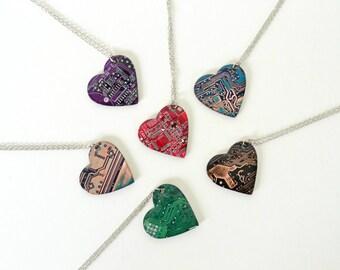 Geeky Heart Necklace, Nerdy Geek Love, Computer Circuit Board Jewelry, Geekery Heart Love