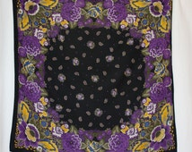 Russian Turkish  scarf bold purple florals  paisley center  shawl ethnic print square scarf