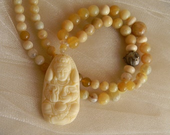 Kwan Yin molded bone & resin pendant w yellow opal beads necklace , beaded jewelry , Goddess of Mercy pendant , Avalokiteshvara , unusual