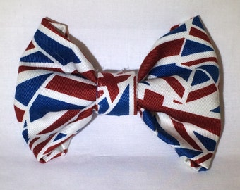 Union Jack English Flag Hair Bow