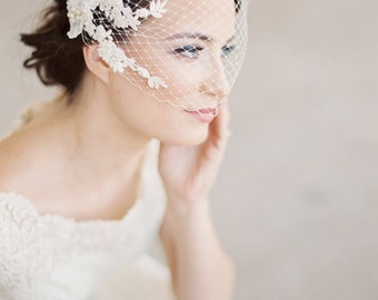 Bridal birdcage veil,  bandeau veil, Lace Mist birdcage veil, bridal veil lace, ivory wedding veil lace, bridal veil pearls Style 628
