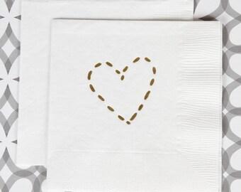BN1224 - golden heart beverage napkin, 40 ct