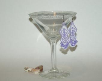 Pagan / Wiccan Goddess Seed Bead Dangle Light Purple and White Earrings