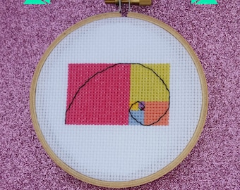 Rainbow Fibonacci Sequence Golden Spiral easy mini counted cross stitch pattern for the math nerd