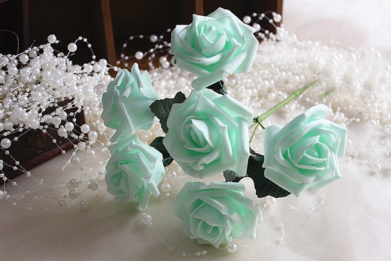 Mint wedding flowers artificial roses mint green flowers for like this item junglespirit Gallery