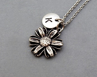 Sunflower necklace, Sunflower charm, Silver Sunflower, initial necklace, initial hand stamped, personalized, antique silver, monogram