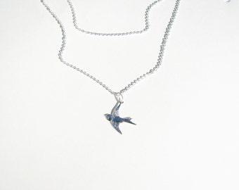 Tiny Bird, Layered Necklace Set, Dove, Sparrow, Sterling Silver Bird Necklace, Flying Bird  Bridesmaid, Wedding Bird, Swallow Necklace
