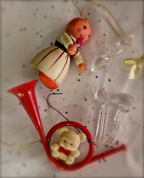 Vintage Lot Of 3 Ornaments 1970s 1980s By Thedomesticdarling