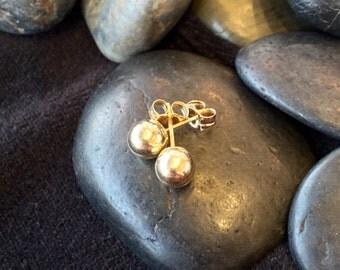 14K Gold 6mm Ball Earrings (st - 1214)