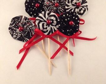 YoYo Flower Cake or Cupcake Picks in Black,& White Mix - Violet Bows