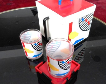 Square Briard Ice Bucket Postmodern Rare COLLECTION Sottsass Memphis Design Red Blue yellow Black White Primary Colors Glasses fun pop art