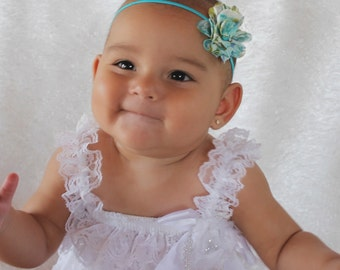 Flower Headband, Baby Headband, Newborn Headband, Baby flower headband, Infant Headband, Baby Girl Headband, Toddler headband, Blue Headband