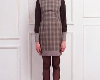 30% Season Off_Angenehm check Dress  -  Warm Sand BROWN