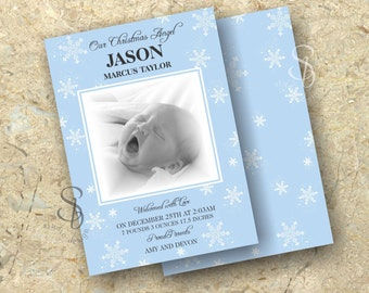 Christmas baby announcement card.  Blue Snowflake baby announcement card.