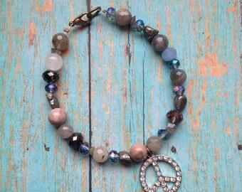 Peace sign and gemstone bracelet, boho jewelry, stacking bracelet, layering bracelet, boho chic, boho bracelet, labradorite, pyrite, pastels