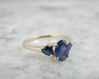 Saturated Thai Sapphire Three Stone Anniversary Ring 6M3898-D