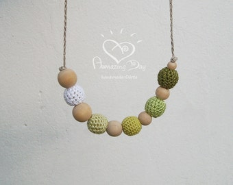 Natural Teething Necklace Gradient Olive Green White Nursing Necklace Crocheted Organic Baby Friendly Jewelry Fine Necklace for Women / Girl