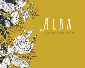 Hand Drawn Vintage Clip Art - Alba