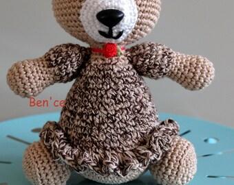 Cute and soft, amigurumi teddy bear-girl