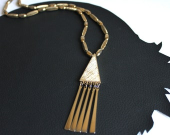 Gold Geometric Vintage Necklace with Triangle with Fringe