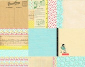"""Digital whimsical vintage background papers / printable / JPEG / 6"""" by 6"""" / floral, retro children, collage, ledger, postcard / shabby chic"""