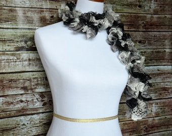SALE-- Frilly Crochet Scarf - Black and White