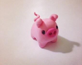 Polymer Clay Miniature Pink Pig, Kawaii Style