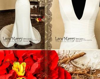 Feminine A Line Wedding Dress, Deep Sexy V-neck, Chiffon Wedding Dress, Ivory Dresses, Wedding Dresses, Beach Wedding Dress, Sexy Dresses