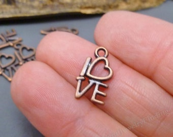 15 pcs Copper CHARMS - Open Hearts Charms - Love Charms  Wedding jewelry making wholesale supplies -MC0336