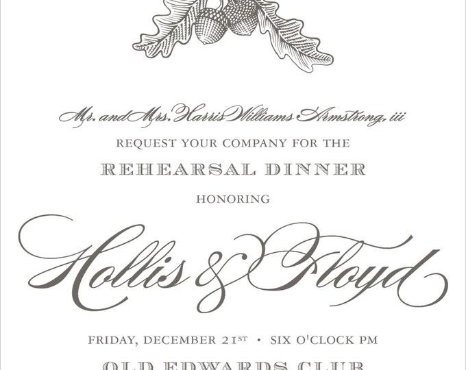 Oak & Acorn Etching | Rehearsal Dinner Invitation