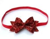 valentine's headband, Red glitter bow - red glitter headband, glitter headband, red bow
