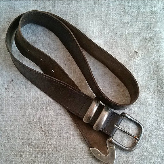 Vintage leather belt retro real leather belts old leather Repurposed leather belts