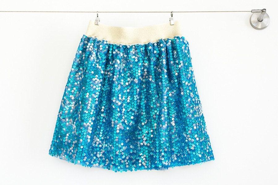 Girl Sequined Skirtturquoise skirtblue sequin skirttulle