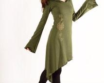 hoodie pixie dress. Goddess hood dress. Pixie hood dress. Tunic hood dress. Faery dress. Long tunic dress. Elven hood dress.