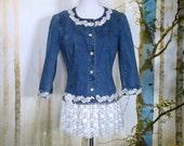 Lace Embellished Denim Jacket Sz. Med.