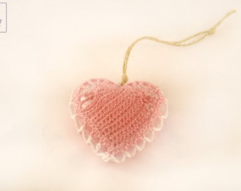 Christmas tree decoration crochet Home rustic Christmas toy Lace Heart pink