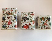 English Floral Tin/  Daher Canisters / Charming Floral Chintz Design /  Set of Decorated Ware / Bright Flowers on England Tin Canister