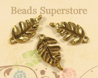 27 mm x 14 mm Antique Gold Leaf Link / Connector - Nickel Free, Lead Free and Cadmium Free - 8 pcs (LC05)