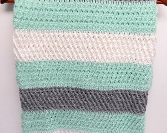 SALE!! Textured Baby Blanket - Mint, Grey & White - Handmade Crochet