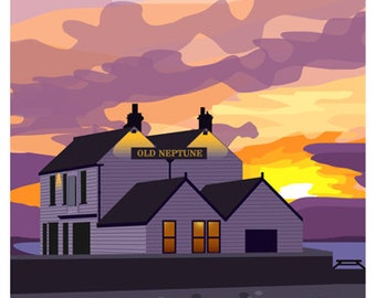 WHITSTABLE. Railway poster style art print of Old Neptune on the Beach, Sunset, Whitstable, Kent. A4, A3, A2