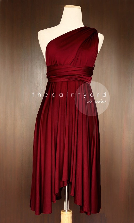 Wine red bridesmaid dress convertible dress infinity dress for Wedding dresses color red