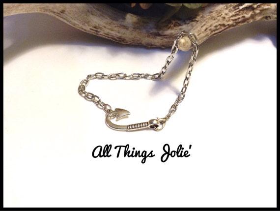 Nautical mens hook bracelet silver fish hook chain sportsman for Mens fishing bracelet