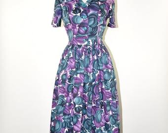 50s plum shirtdress / 1950s cotton day dress / floral print dress / short sleeve full dress